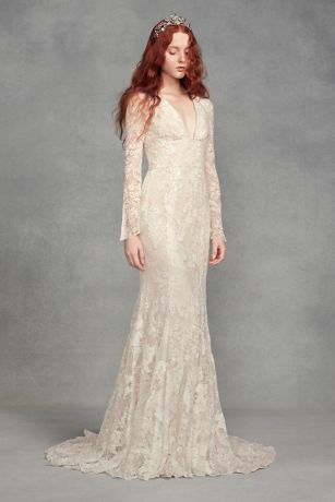 Captivating Long Mermaid/ Trumpet Boho Wedding Dress   White By Vera Wang