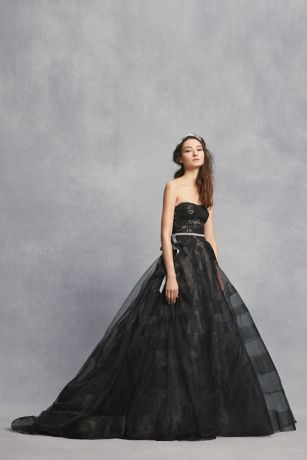 Black Lace Wedding Dress with Tiered Horsehair | David\'s Bridal