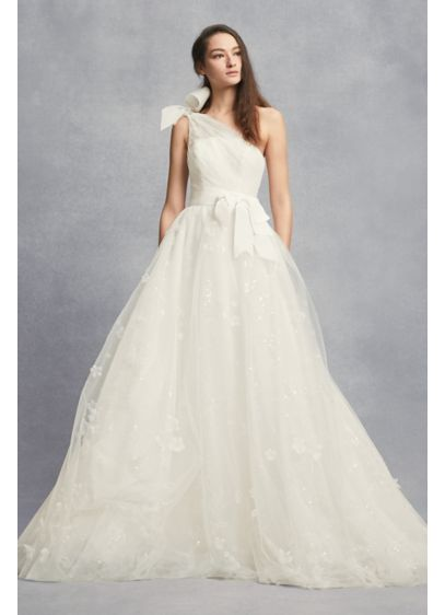 Layered Tulle One-Shoulder A-Line Wedding Dress | David\'s Bridal