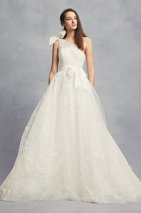 Layered Tulle One-Shoulder A-Line Wedding Dress   David\'s Bridal