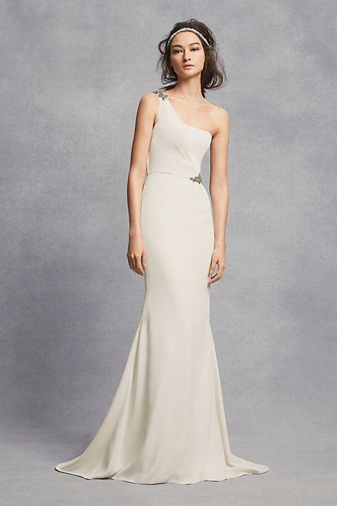 One-Shoulder Sheath Wedding Dress with Crystals   David\'s Bridal