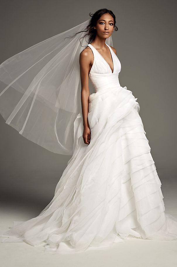45d1145e75e1 Tiered Organza T-Back Ball Gown Wedding Dress VW351441. VW351461. Vera Wang  ...