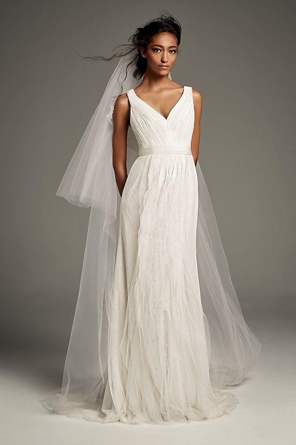 Pleated Tulle Flutter-Back Sheath Wedding Dress VW351448