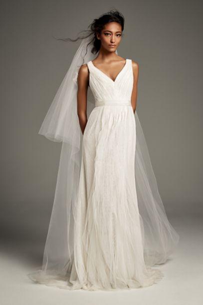 Cap Sleeve Crepe Sheath Wedding Dress WG3939