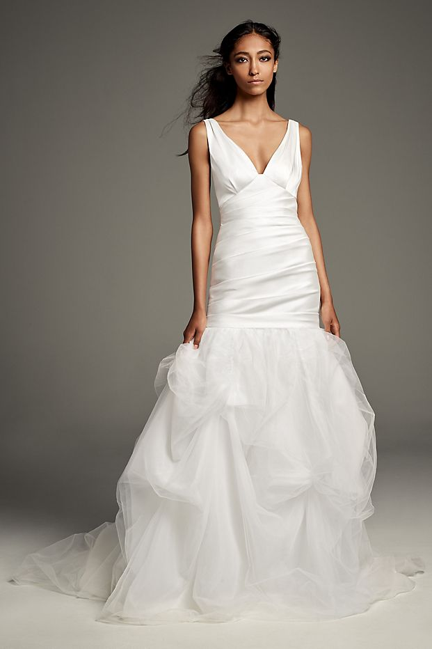 Mikado Wedding Dress with Tossed Tulle Skirt