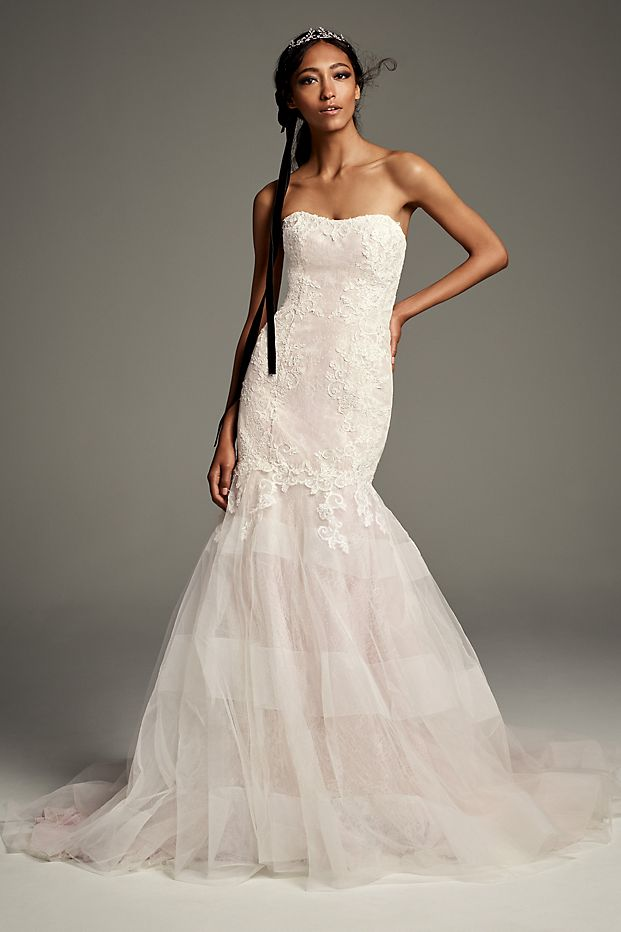 Lace Trumpet Wedding Dress with Banded Skirt