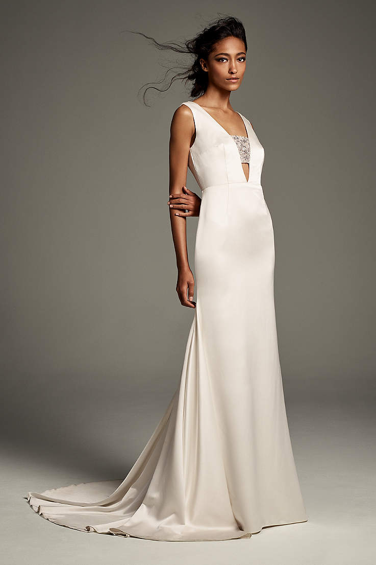 Long Sheath Wedding Dress - White by Vera Wang - Apres 53657425382d