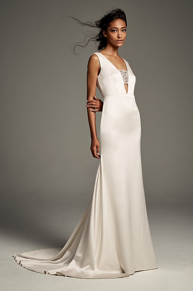 Crepe-Back Satin Gown with Encrusted Bandeau