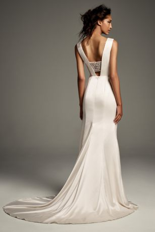 crepeback satin gown with encrusted bandeau davids bridal