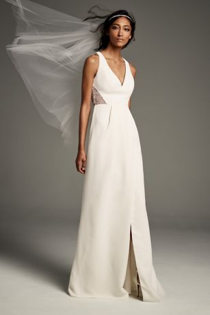 Open-Back Cady Sheath Gown with Illusion Sides