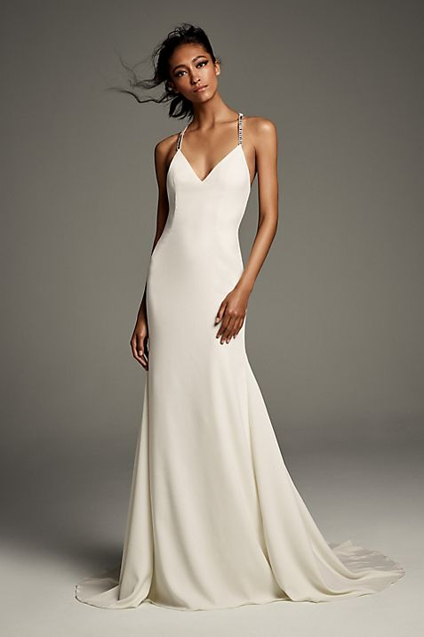 6ab08a48616a Crystal T-Back Stretch Crepe Slip Gown with Ribbon   David's Bridal