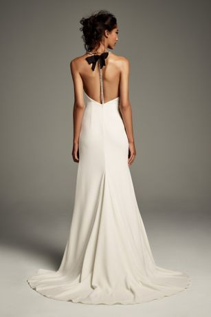 Crystal T-Back Stretch Crepe Slip Gown with Ribbon