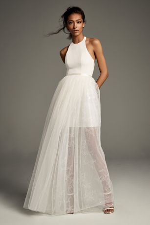 Long Separates Halter Dress - White by Vera Wang