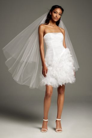 Short A-Line Strapless Dress - White by Vera Wang - Apres