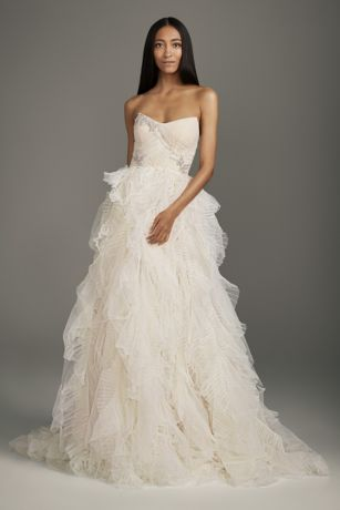 Long Ballgown;Jumpsuit Wedding Dress - White by Vera Wang