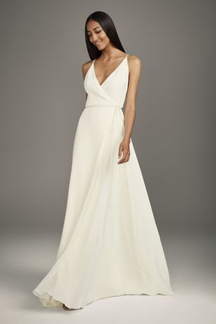 Crepe Wrap Gown with Jeweled Crisscross Low Back