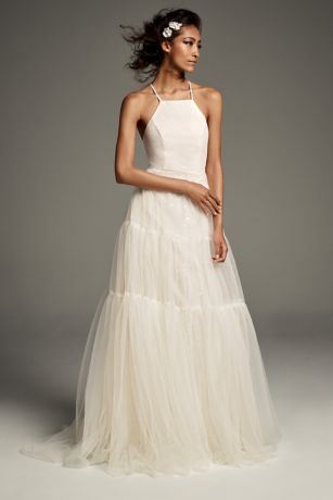 Long A-Line Halter Dress - White by Vera Wang - Apres