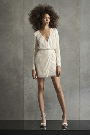 White by Vera Wang Wrap Sequin Mini Dress
