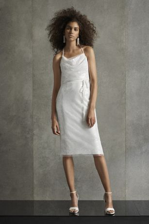 Short Sheath Wedding Dress - White by Vera Wang