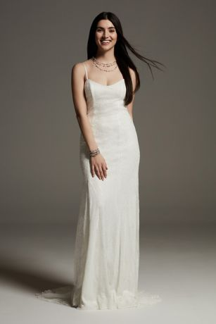 White by Vera Wang Sequin Lace Slip Dress