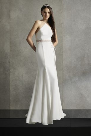 Long Sheath Halter Dress - White by Vera Wang