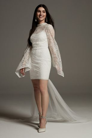 White by Vera Wang Lace Long Sleeve Mini Dress