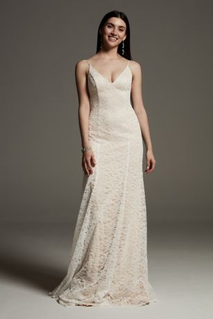 White by Vera Wang V-Neck Floral Lace Slip Dress