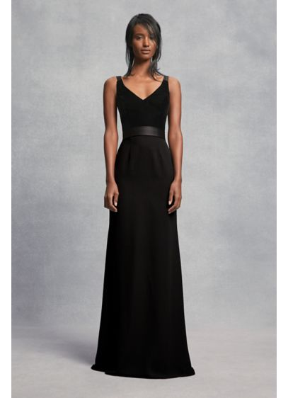 Crepe And Velvet Bridesmaid Dress With Open Back Davids Bridal