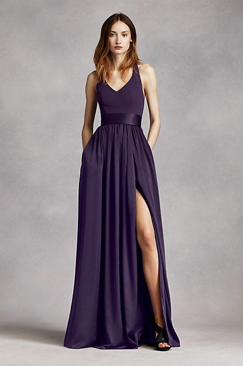 V Neck Halter Gown with Sash | David\'s Bridal