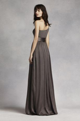 One Shoulder Dress with Satin Sash | David's Bridal