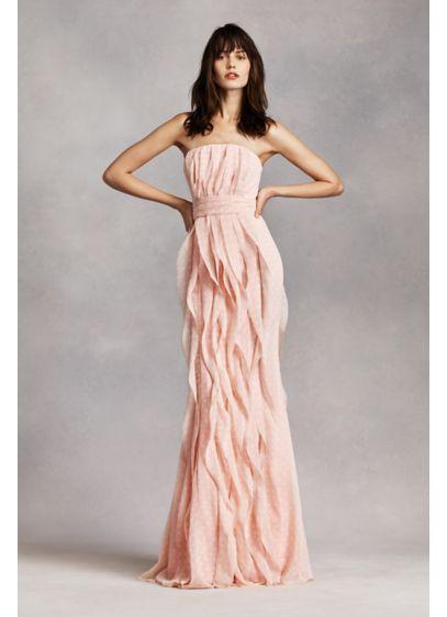 Strapless Chiffon Dress with Vertical Ruffles | David\'s Bridal