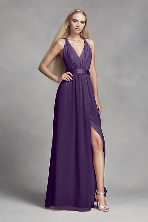 Long Chiffon Dress with Low Crisscross Back | David\'s Bridal