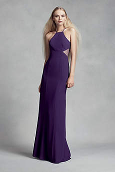 Crepe Cutaway Bridesmaid Dress with Illusion Sides