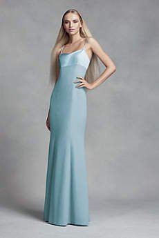 Crepe and Satin Bridesmaid Dress with Cutout Back