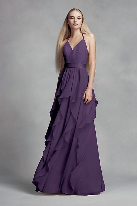 Chiffon Bridesmaid Dress with Cascading Skirt | David\'s Bridal