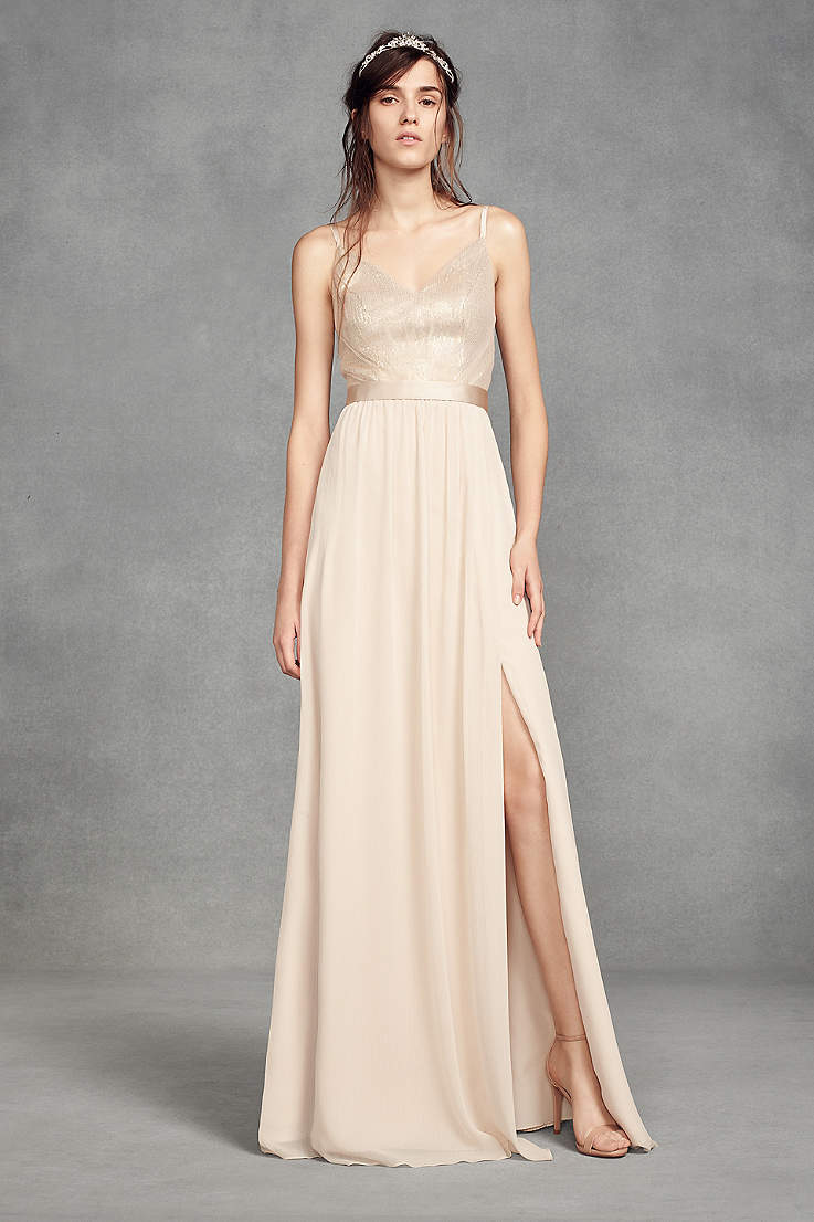 88f32b875fd465 Soft & Flowy;Structured White by Vera Wang Long Bridesmaid Dress