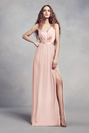 Soft Flowy Structured White By Vera Long Bridesmaid Dress