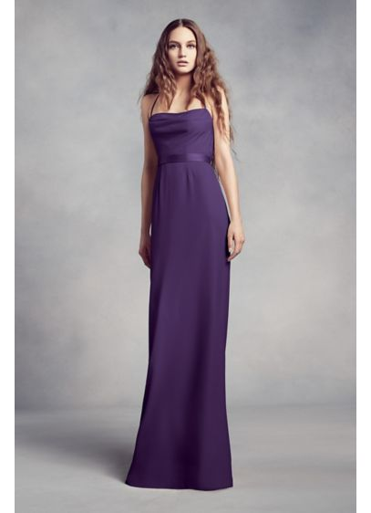 Cowl-Back Crepe Bridesmaid Dress with Illusion | David\'s Bridal