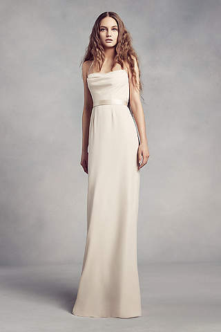 Cowl Back Crepe Bridesmaid Dress With Illusion