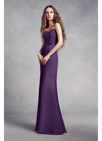 Chiffon Bridesmaid Gown with Lace Back and Inset | David\'s Bridal