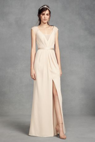 Illusion Cap Sleeve Crepe Bridesmaid Dress