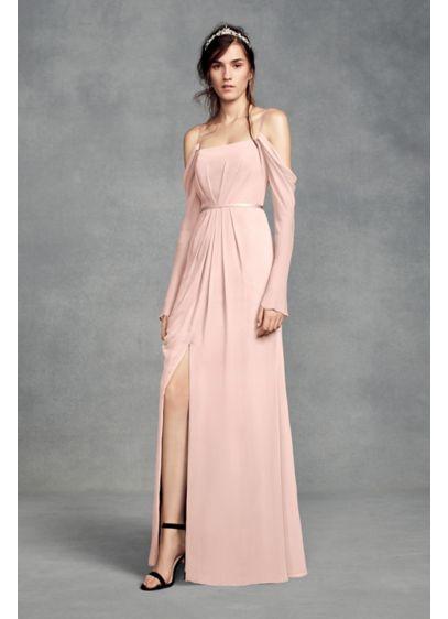 Long Sleeve Cold Shoulder Chiffon Bridesmaid Dress | David\'s Bridal