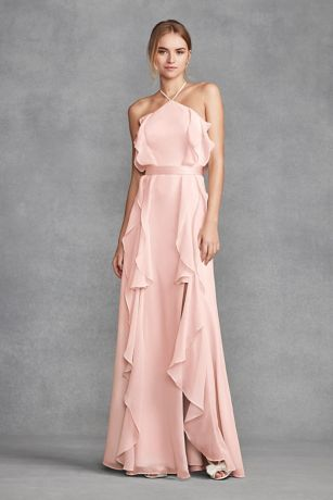 Chiffon High-Neck Bridesmaid Dress with Tie Back