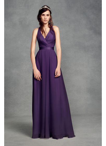 Chiffon Halter Bridesmaid Dress with Tulle Bow | David\'s Bridal