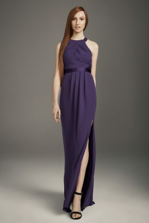 Pleated Cross-Back Double Cloth Bridesmaid Dress