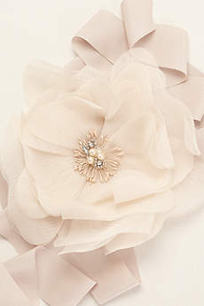 Garza Floral Sash with Pearl and Crystal Detail