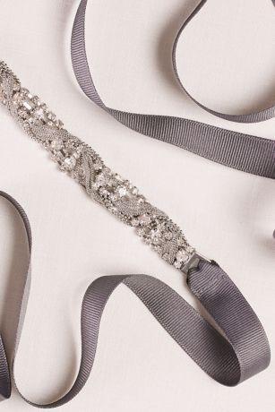 Braided Crystal and Mesh Chain Sash