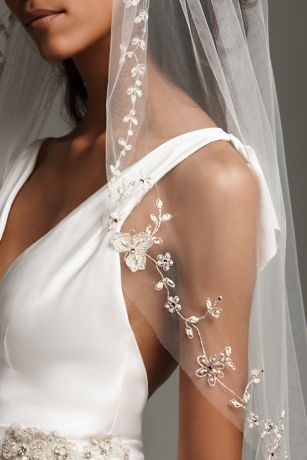 Embroidered Floral Garland Cathedral-Length Veil
