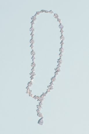White by Vera Wang Crystal Cluster Lariat Necklace