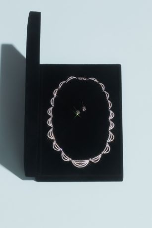 White by Vera Wang Crystal Scallop Jewelry Set